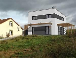 stunning maison cubique moderne plain pied photos design With plan de maison cubique 3 maison bois cubique 224 toit plat nos maisons ossatures bois