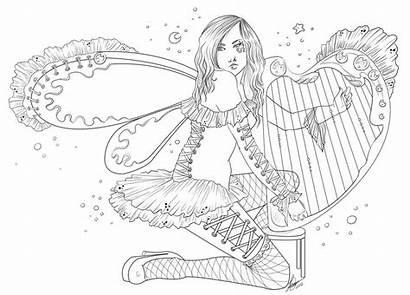 Coloring Fairy Harp Deviantart Adult Goddess Moon