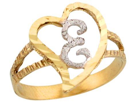 Two Tone Gold Fancy Cursive Letter E Unique Heart Initial