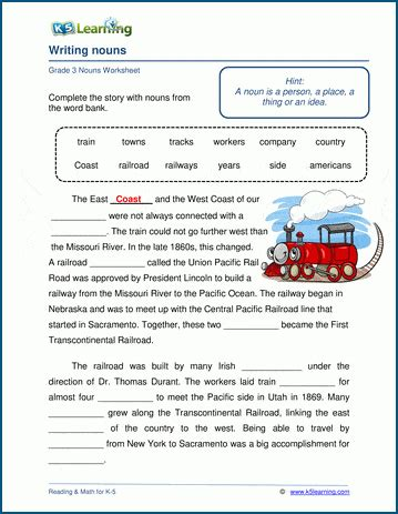 writing nouns   text worksheets  learning