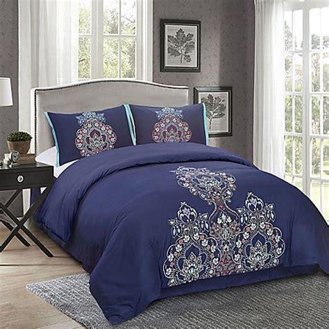 masie 4 piece comforter set in midnight blue bed bath