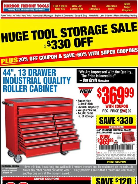 harbor freight heat l harbor freight huge tool storage sale up to 330 off