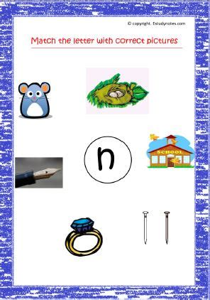 match letter with correct pictures letter n copy
