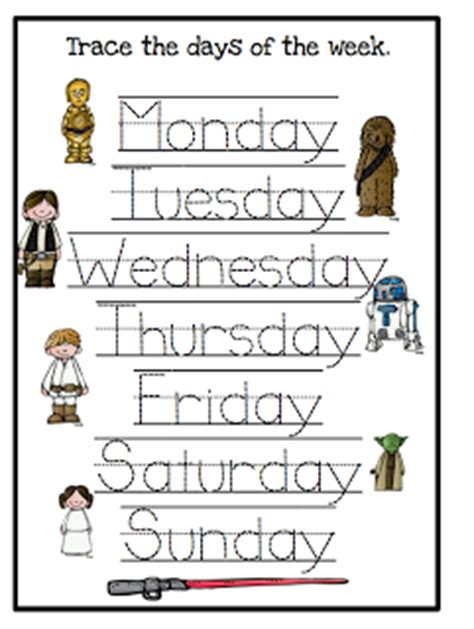 ultimate wars printables up 347 | Star Wars Education Printables Days of the Week
