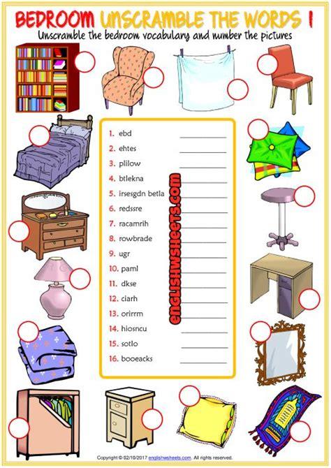 bedroom unscramble  words esl worksheets  kids