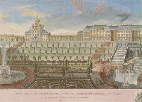 View Of The Large Palace In Peterhof From The Gulf Of