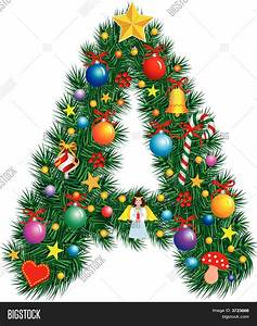 Alphabet letter christmas vector photo bigstock for Large christmas letters