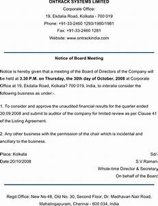 download notice template for free formtemplate With notice of board meeting template