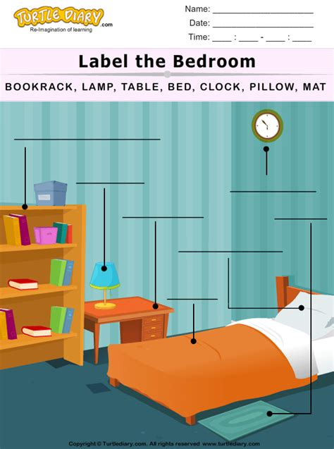 label  bedroom worksheet turtle diary