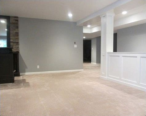 finished basement idea half wall and light gray paint