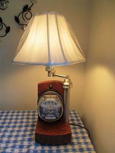 Table lamp I built with working vintage electric meter