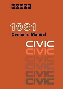 1981 Honda Civic Owners Manual User Guide Reference