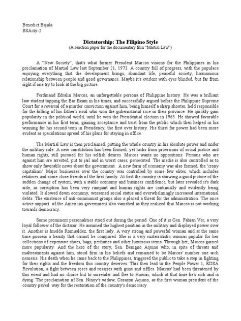 polsci martial law reaction paper public sphere government