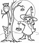 Witch Coloring Pages Halloween Owl Face Pretty Drawing Cartoon Witches Spider Ghost Getdrawings Printable Getcolorings sketch template