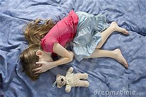 Little Sad Crying Girl With Teddy-bear Royalty Free Stock ...