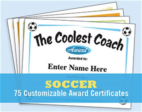 soccer certificates  award templates futbol
