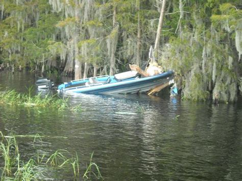 Boat Crash At Topic by Bass Boat Near Hatchnahaw Southern Airboat