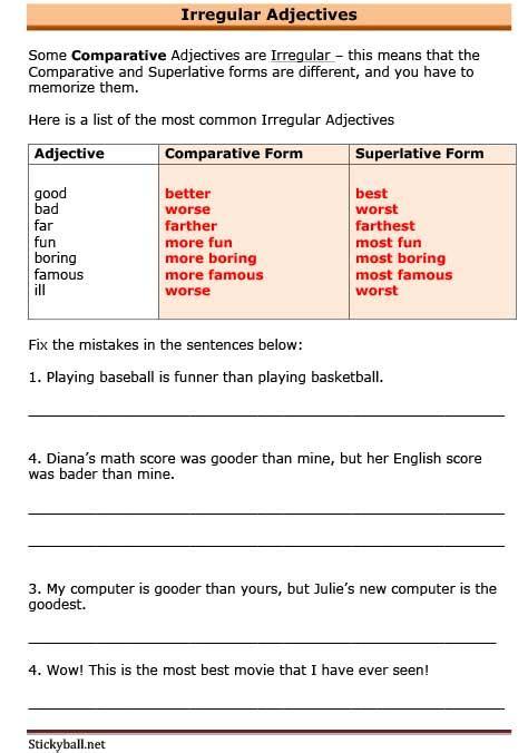 esl grammar worksheets irregular adjectives