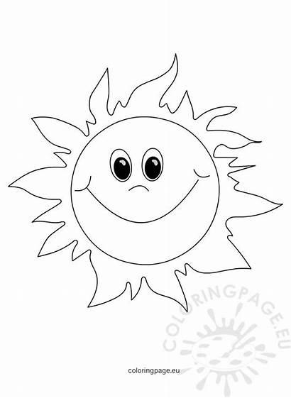 Sun Smiling Cartoon Happy Coloring Face Yellow