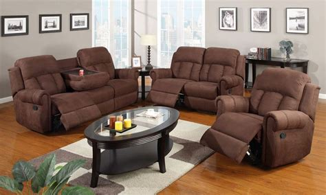 Loveseat And Ottoman Set by Details About Modern Rocker Recliner Sofa Cup Holder