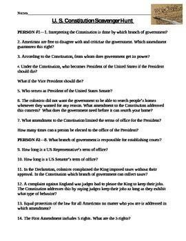 constitution scavenger hunt worksheet  amy miller tpt