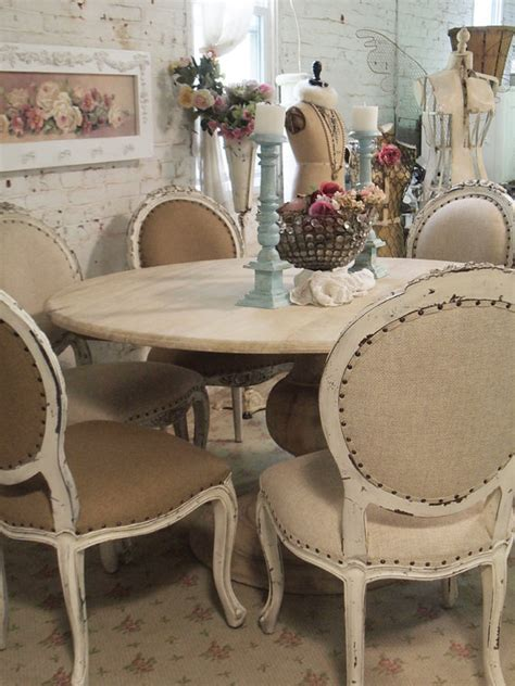 shabby chic dining table painted cottage chic shabby french linen round dining table farm table tbl31 1 195 00 the