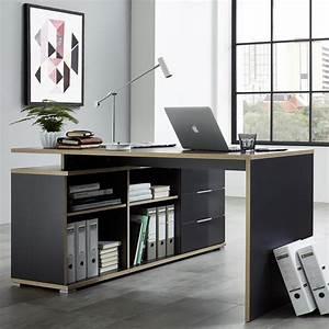 Bureau D Angle Design : bureau d 39 angle gris et bois mateo ~ Teatrodelosmanantiales.com Idées de Décoration