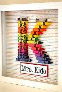 Teacher gift customized crayon monogram frame with your for Crayon letters for teachers