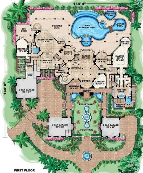 bedroom  bath mansion house plan chatham design group