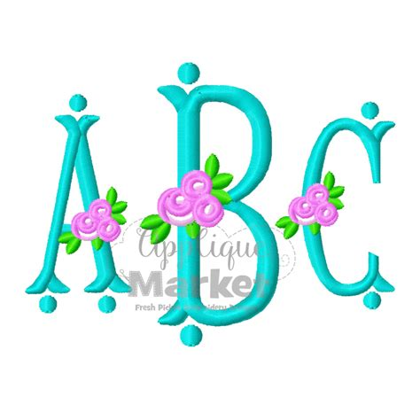 fishtail rose monogram alphabet