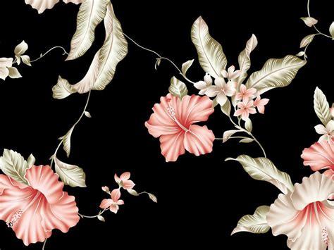 Permalink to Black Background Floral Wallpaper