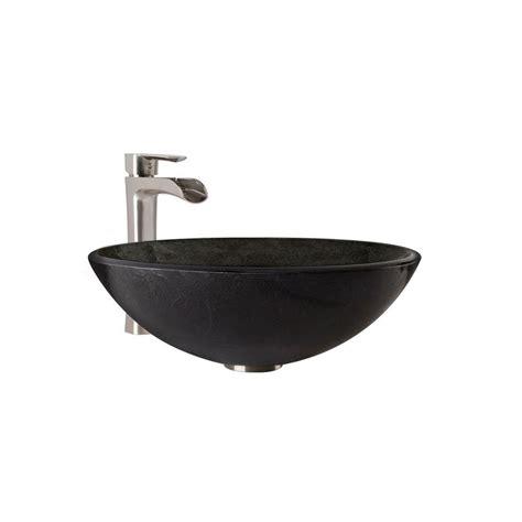 vessel sink and faucet vigo glass vessel bathroom sink in gray onyx and niko
