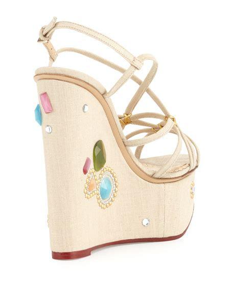 charlotte olympia elizabeth jeweled wedge sandal natural