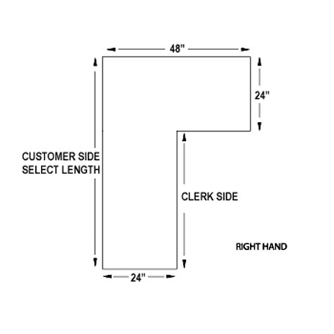 shelf brackets right side l shaped counter retail checkout counter