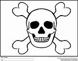 Pirate Coloring Pages Skull Bones Printable Crossbones Skulls Flags Drawings Flag Pirates Treasure Halloween Clip Maps Sheets Quilt Sugar Library sketch template