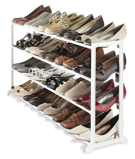shoe organizer for closet whitmor white 20 pair shoe rack storage organizer holder