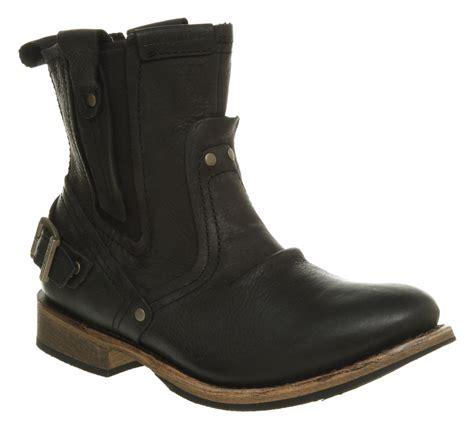 mens biker shoes mens caterpillar vinson biker boot black wyoming leather