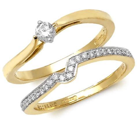 9 carat gold wedding ring sets 9 carat yellow gold wedding ring set round brilliant cut