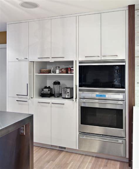 sleek appliance garage contemporary kitchen
