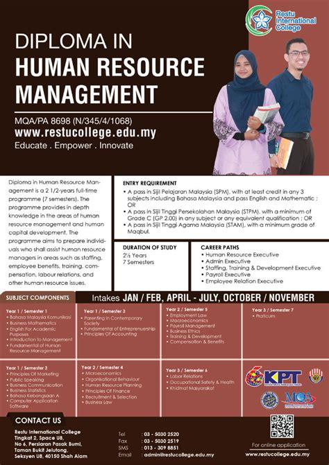 diploma  human resource management  restu