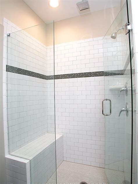 walk  shower features white subway tile  glass