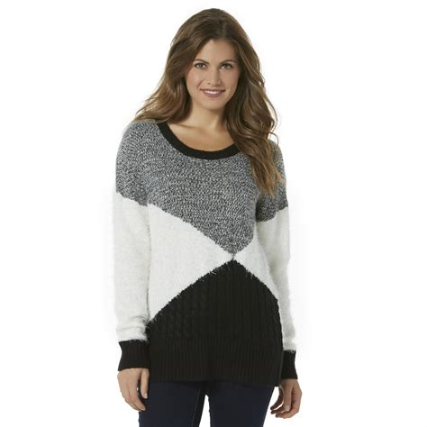 Metaphor Womens Eyelash Knit Sweater Colorblock