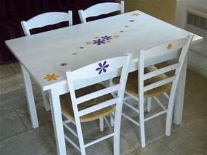 Table De Cuisine Blanche : table et chaise de cuisine blanche ~ Teatrodelosmanantiales.com Idées de Décoration