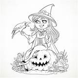Coloring Halloween Witch Adults Pages Azuzl Pumpkin Simple Crow Smiling Events Adult Raven Talking Sitting sketch template