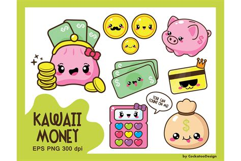 Kawaii Clipart by Kawaii Money Illustrations Creative Market