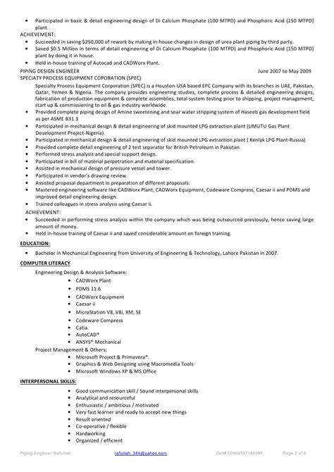 Resume lead mechanical engineer caesar ii