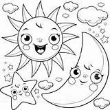 Coloring Moon Sun Stars Popular sketch template