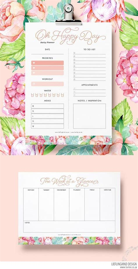 daily planner printable  happy planner printables