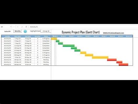 dynamic project planner gantt chart part  youtube