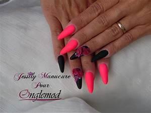 Ongles En Gel Rose : pas pas ongle en gel amande gothique noir rose fluo et rose 4d avec les produits onglemod ~ Melissatoandfro.com Idées de Décoration